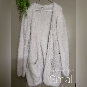 Free People Faux Fur Front Cardigan